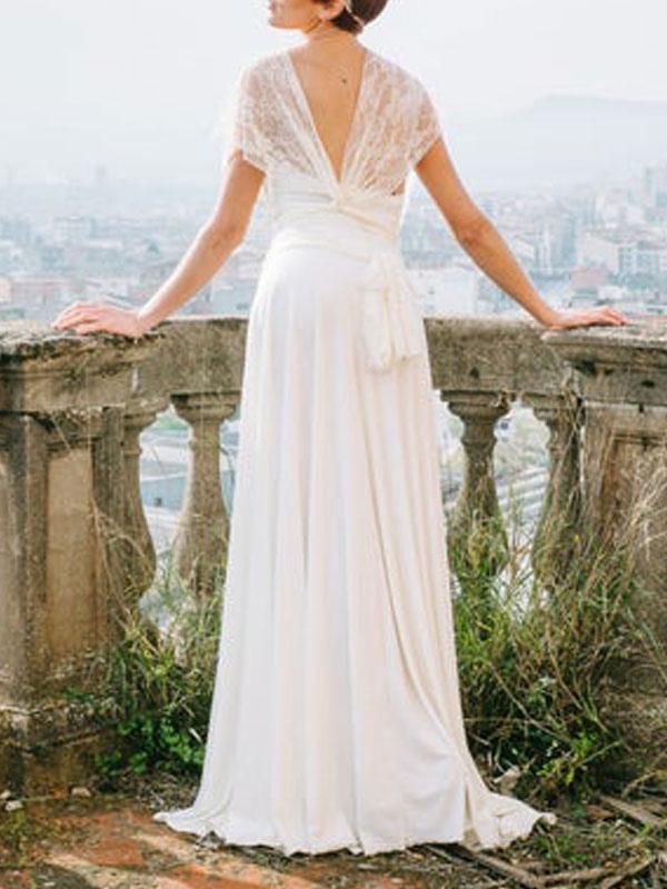 Einfache Brautkleider Mantel V-Ausschnitt Ärmellos Plissee Bodenlangen Mit Zug Spitze Brautkleider