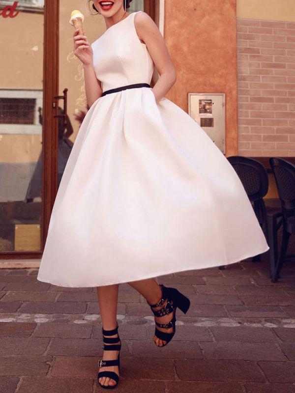 Vintage Wedding Dresses 2021 Bateau Neck Sleeveless Color Stitch The Waist Sash Tea Length Bridal Gowns