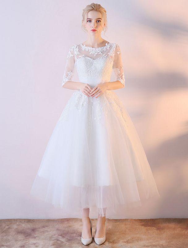 Robes De Mariée Courtes Blanc Demi Manches Dentelle Applique Thé Longueur Robe De Mariée