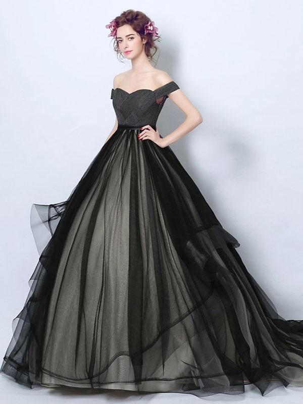 Robes de mariée gothiques fidèles princesse silhouette sans manches plissée tulle tribunal train robe de mariée