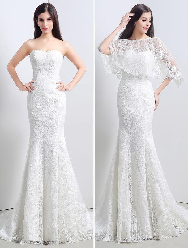 Spitze Sweatheart Trompete/Meerjungfrau-Brautkleid mit Spitzencape Lace