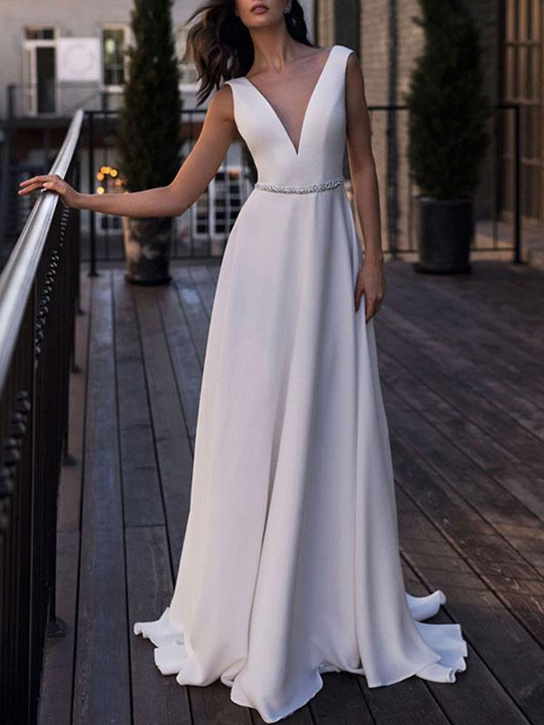 Simple Wedding Dress Satin Fabric V Neck Sleeveless Sash A Line Floor Length Bridal Gowns