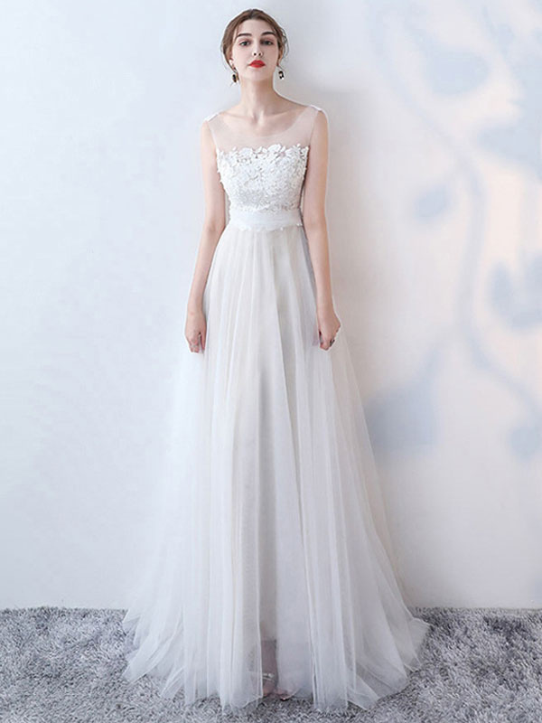 Simple Wedding Dress 2021 A Line Jewel Neck Sleeveless Bows Lace Tulle Bridal Dresses