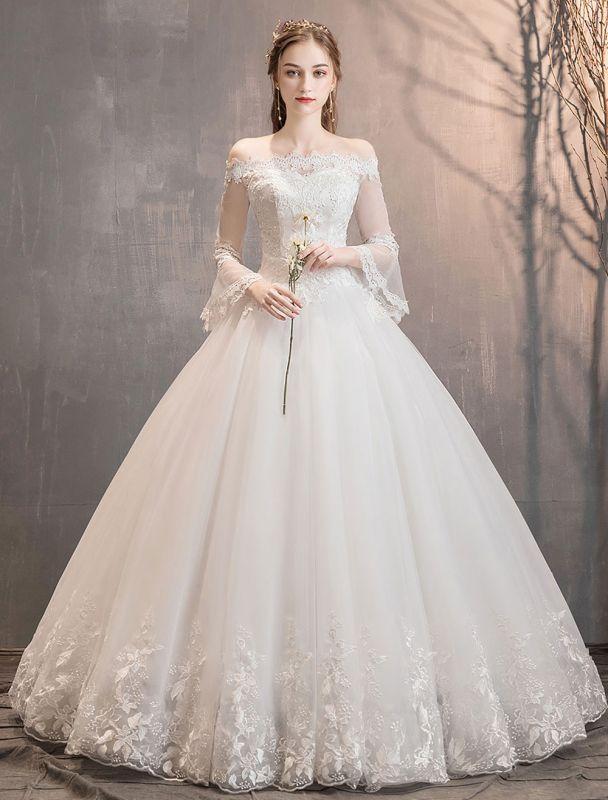 Spitze Brautkleider Elfenbein Schulterfrei Spitze Applique Prinzessin Brautkleid