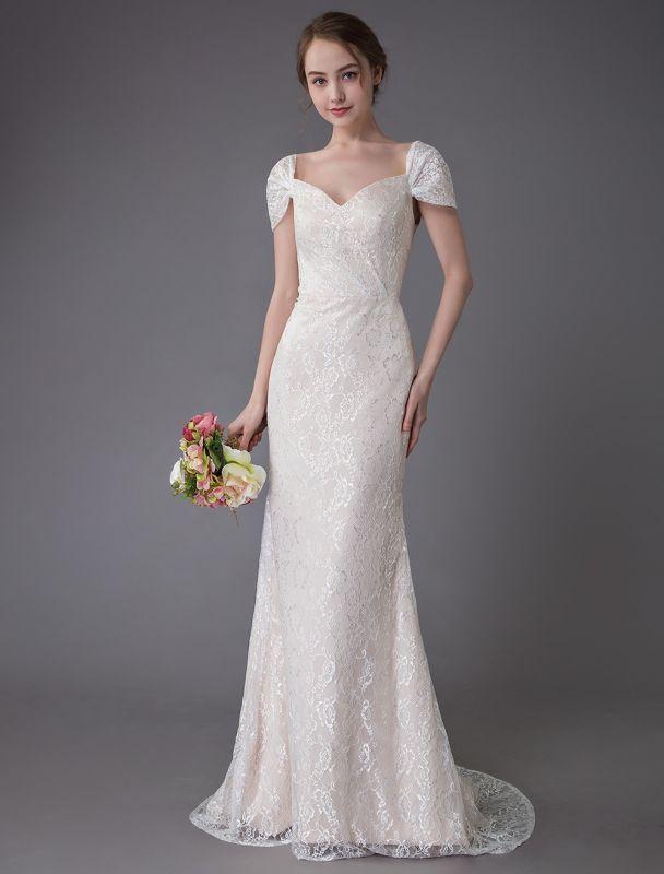 Robe de mariée en dentelle crème vanille chérie robe de mariée à manches courtes robe de mariée sirène avec train exclusif