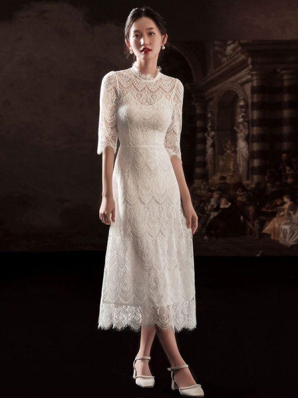 Weißes einfaches Brautkleid A-Linie Jewel Neck Half Sleeves Lace Tee Länge Brautkleider
