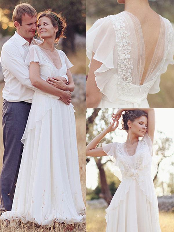 Einfaches Hochzeitskleid A-Linien-Ausschnitt Ärmellose Applikationen Chiffon Brautkleider