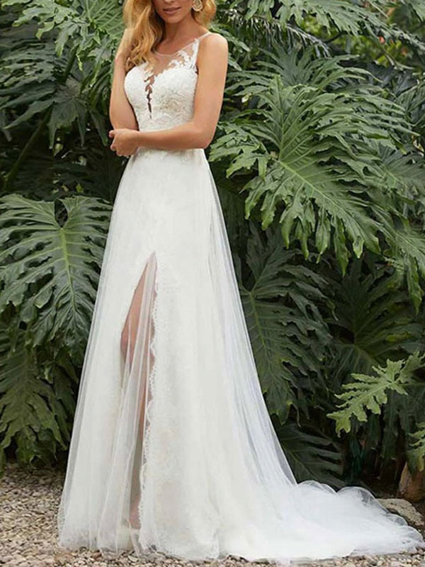 Einfache Hochzeitskleid Etui Jewel Neck Ärmellos Split Front Brautkleider