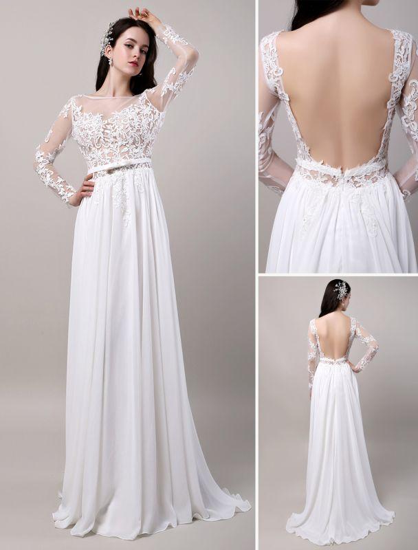 Boho Beach Sheer Lace Chiffon Tul Mangas largas Deep V Back Vestido de novia sin espalda
