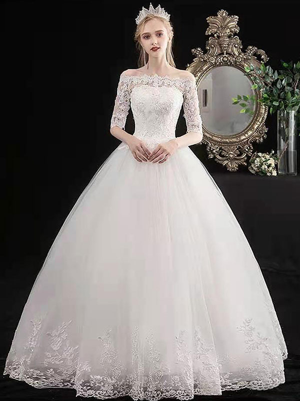 Stylish Wedding Dresses Eric White Off The Shoulder Half Sleeves Ball Gown Soft Tulle Lace Up Floor Length Bride Dresses