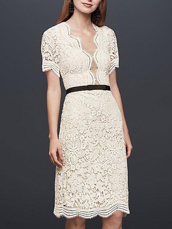 Einfache Brautkleider V-Ausschnitt Kurze Ärmel Mantel Knielang Vintage Brautkleider Exklusiv