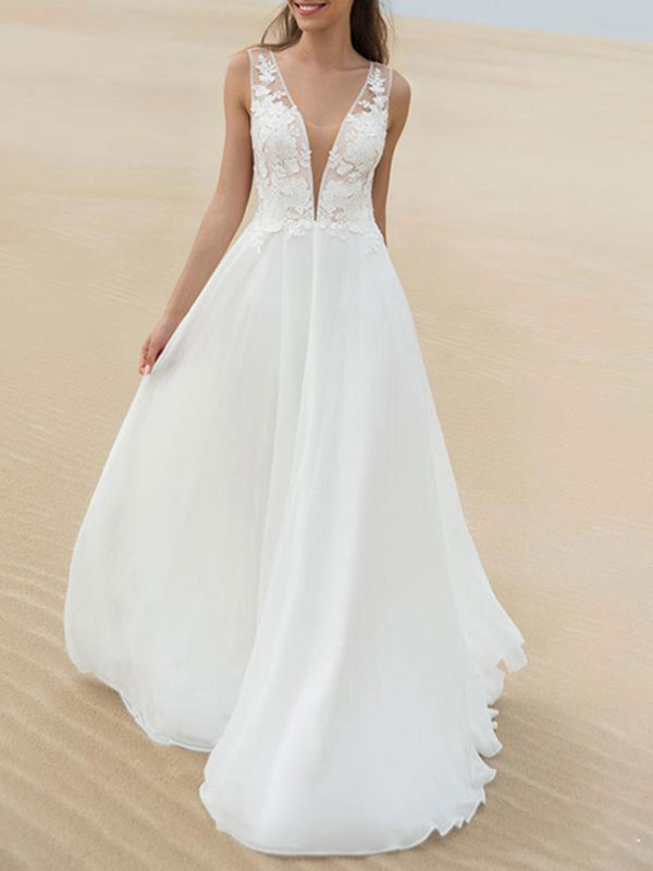 Simple Wedding Dress A Line V Neck Sleeveless Lace Illusion Back Bridal Gowns