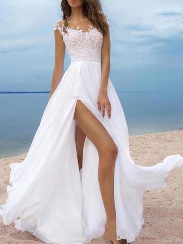 Vestidos de novia boho 2021 Gasa Cuello en V Mangas cortas Una línea Vestidos de novia con frente dividido para bodas en la playa