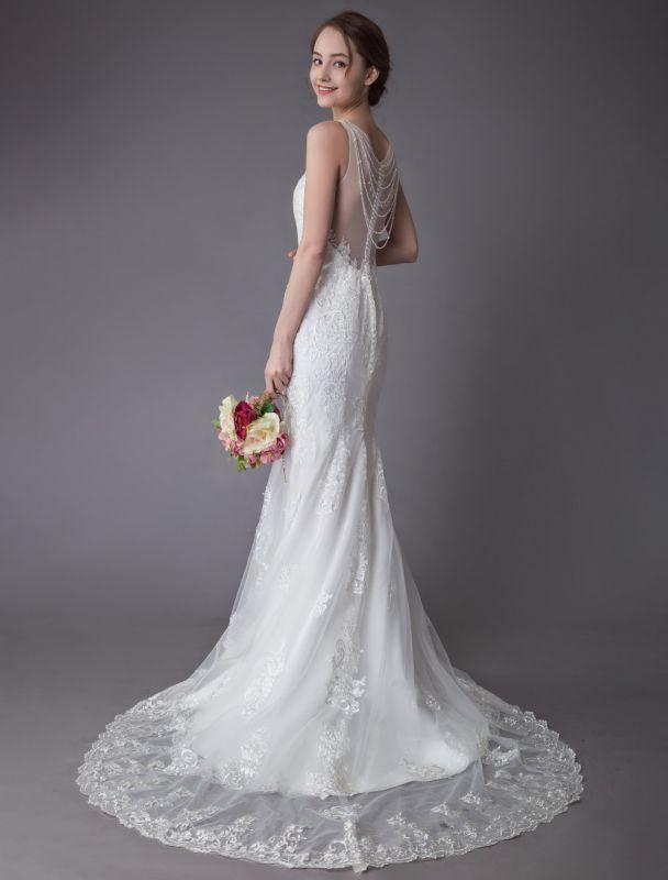 Spitze Brautkleid Elfenbein Illusion Ausschnitt Ärmellos Kette Strand Brautkleid Meerjungfrau Brautkleider Mit Zug Exklusiv