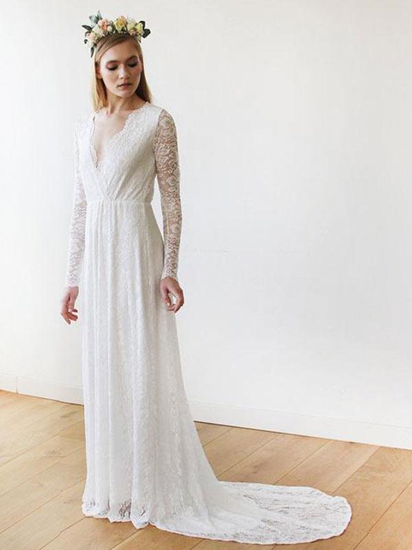 Robe de mariée en dentelle avec train A-ligne manches longues col en V robes de mariée ivoire