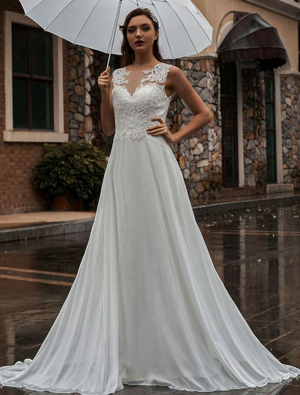 Weißes Brautkleid Illusion Ausschnitt Ärmellose Applikation Chiffon Bodenlangen Brautkleider Zug Kleid