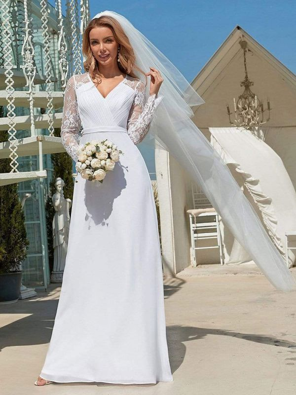 White Simple Wedding Dress Lace V-Neck Long Sleeves Lace Chiffon Pleated A-Line Long Bridal Gowns