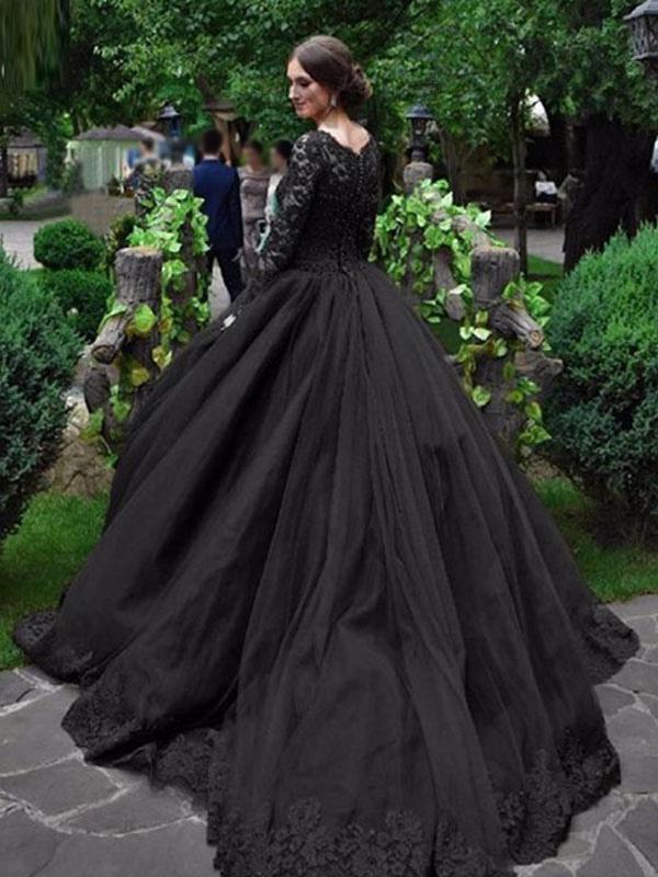 Gothic Brautkleider Prinzessin Silhouette mit langen Ärmeln Spitze Taft Hofzug Vintage Brautkleid