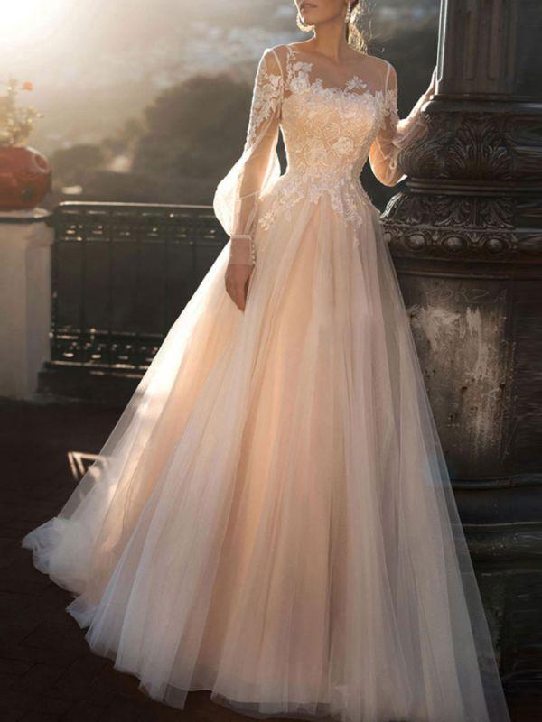 Brautkleider 2021 A Line Illusion Neck Langarm Bodenlangen Tüll Plissee Brautkleid mit Zug