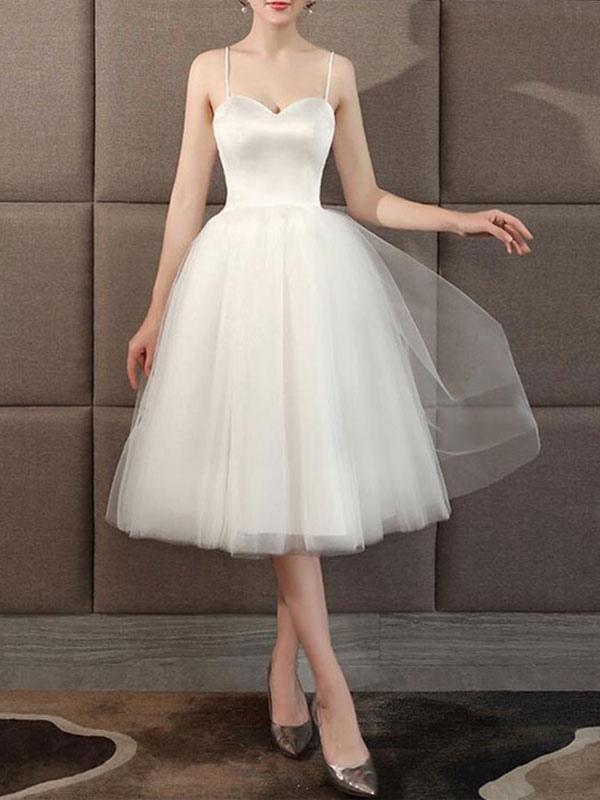 Wedding Dresses Sweetheart Neck Sleeveless A Line Tea Length Short Bridal Dress