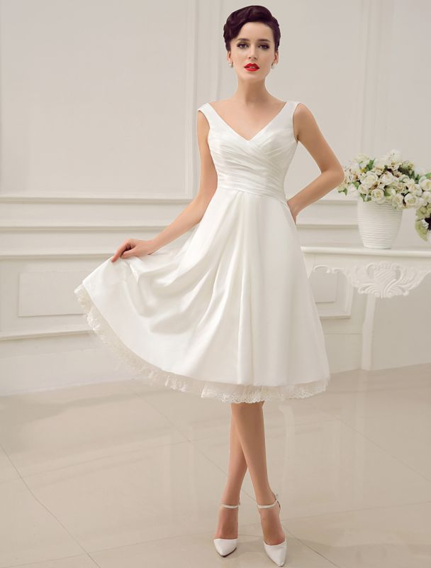 Simple Wedding Dresses Ivory Wedding Dress Knee-Length Backless Straps Lace Bridal Dress Exclusive
