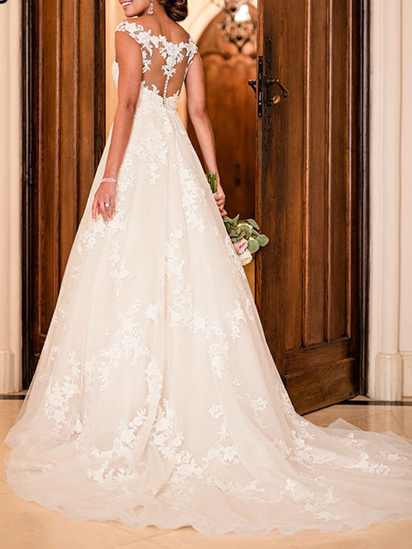 Wedding Dresses A Line V Neck Sleeveless Lace Illusion Back Bridal Gowns