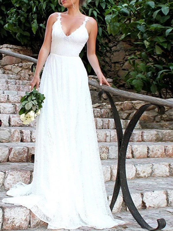 Robes de mariée simples 2021 A Line V Neck Straps Backless Floor Length Classic Robes de mariée