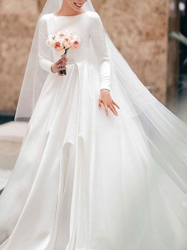 Vintage Brautkleid Jewel Neck Ärmellos Natürliche Taille Satin Stoff Kapelle-Schleppe Plissee Traditionelle Kleider Für Die Braut