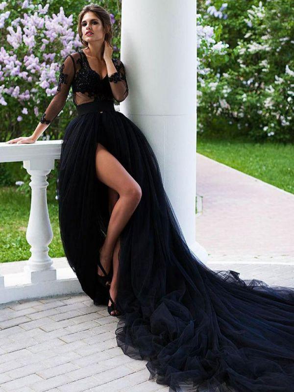 Schwarze Brautkleider Tüll A-Linie V-Ausschnitt Lange Ärmel Backless Natürliche Taille Spitze Royal Train Brautkleid