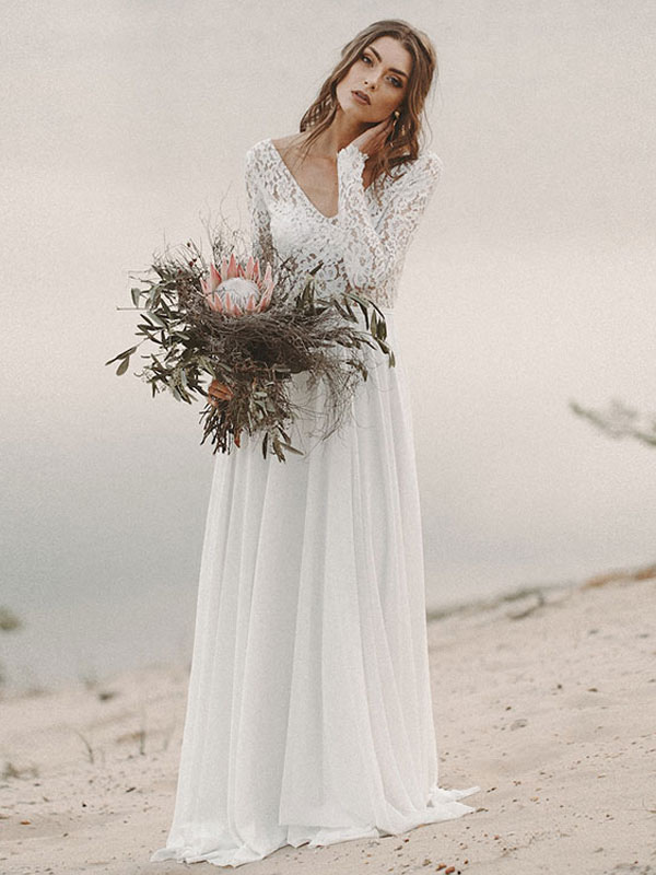 Einfache Hochzeitskleid A-Linie V-Ausschnitt Langarm Bodenlangen Chiffon Spitze Brautkleider