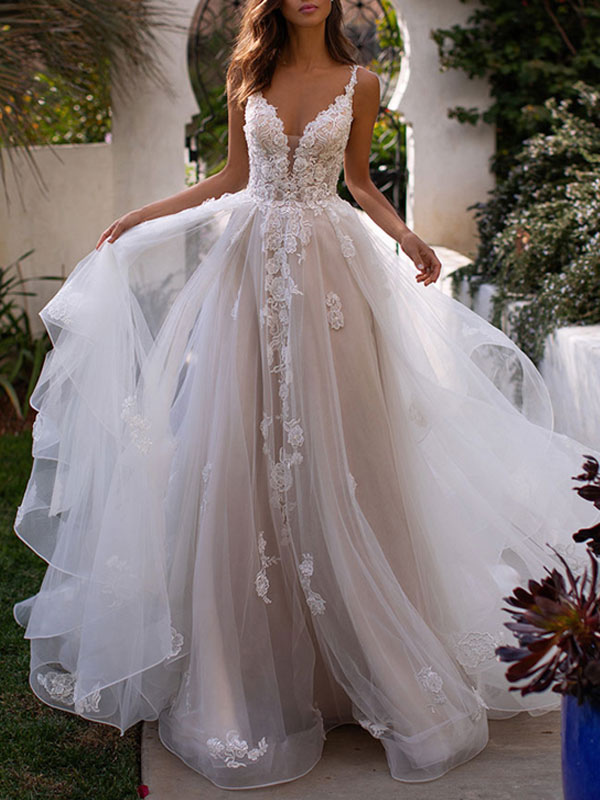 Wedding Dresses A Line V Neck Sleeveless Lace Appliqued Bridal Gowns With Train