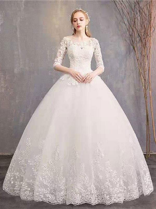 Brautkleider Eric White Jewel Neck Half-Sleeve Soft Tüll Lace Up Bodenlangen Brautkleider