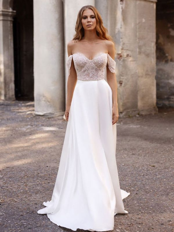 White Simple Wedding Dress Satin Fabric Strapless Sleeveless Cut Out A-Line Off The Shoulder Long Bridal Dresses