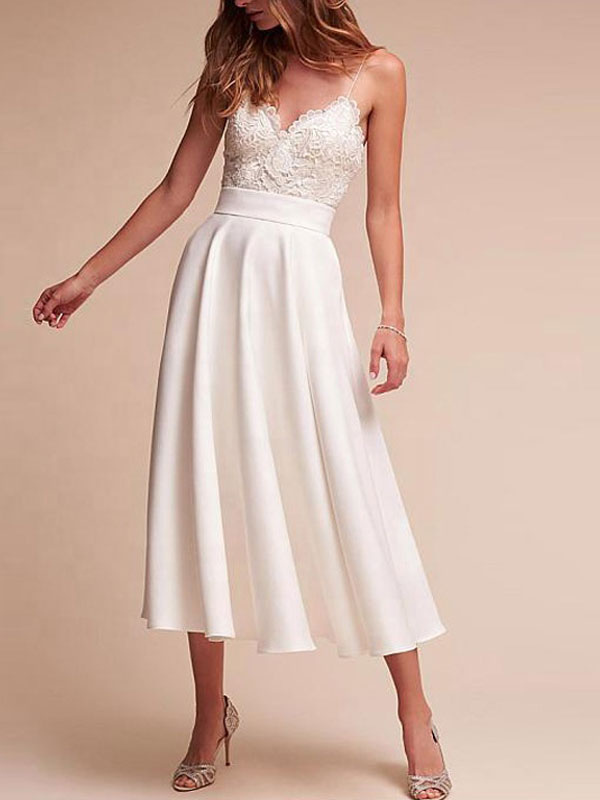 Short Wedding Dress V Neck Sleeveless A Line Tea Length Straps Bridal Gowns