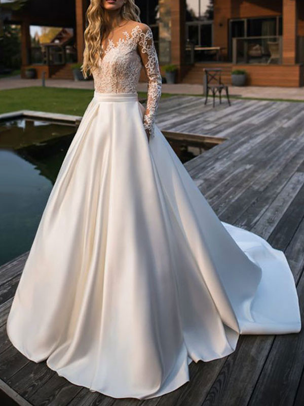 Wedding Dress Princess Silhouette Jewel Neck Long Sleeves Natural Waist Lace Satin Fabric Bridal Dresses
