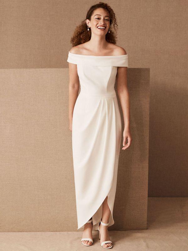 Simple Wedding Dress Black Stretch Crepe Bateau Neck Short Sleeves Pleated Sheath Bridal Gowns