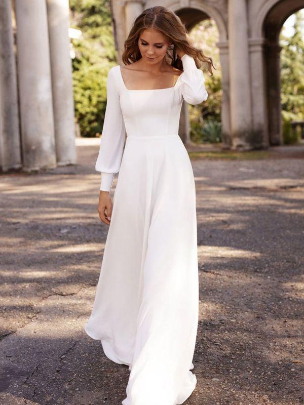 Robe de mariée blanche simple tissu en satin col carré manches longues A-ligne longueur de plancher robes de mariée