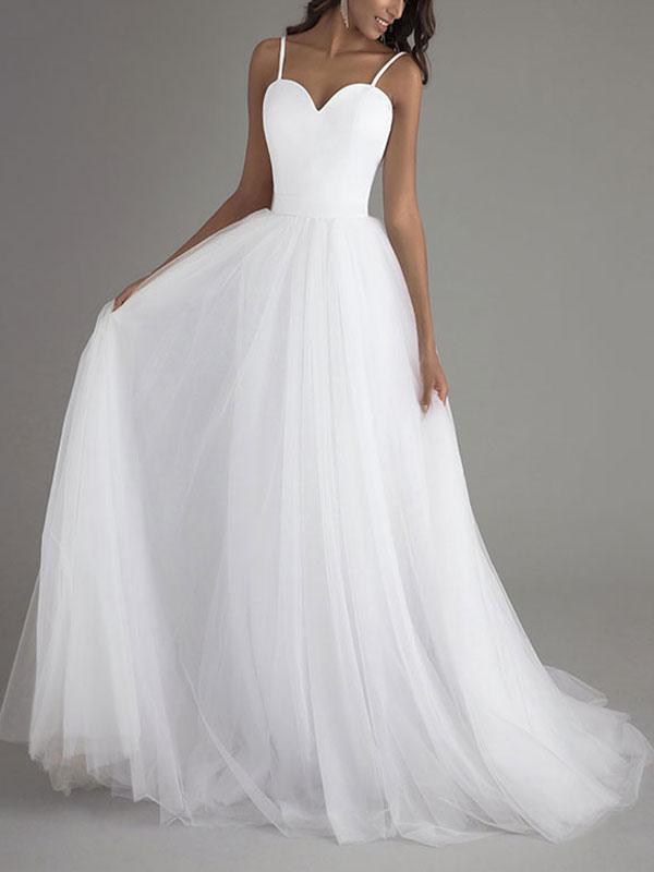 Simple Wedding Dress Tulle Sweetheart Neck Sleeveless Sash A Line Bridal Dresses