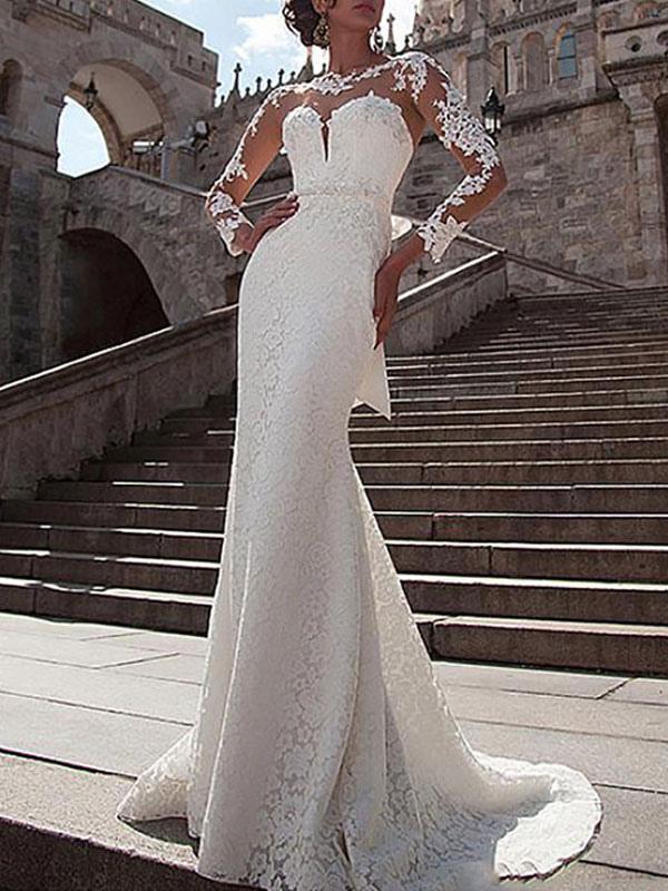 Vestido de novia Encaje Cuello de ilusión Mangas largas Vestidos de novia de sirena con cola de corte
