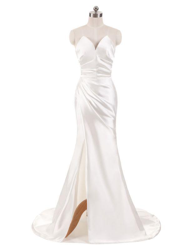 Elfenbein Brautkleider Trägerlose Meerjungfrau Abendkleider V-Ausschnitt Ärmellos Split Beach Brautkleid mit Hofzug