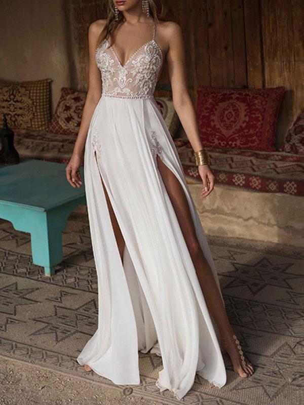 Boho Wedding Dresses 2021 Lace V Neck Sleeveless Beaded Backless Double Splits Chiffon Beach Bridal Gowns
