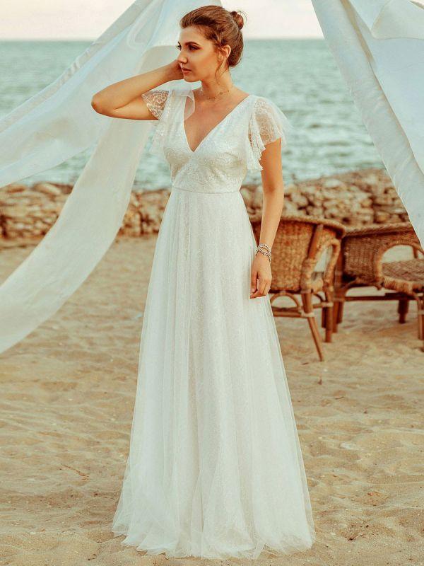 Einfache Hochzeitskleid 2021 A Lne V-Ausschnitt Kurzarm Bodenlangen Tüll Strand Hochzeit Kleider Brautkleider