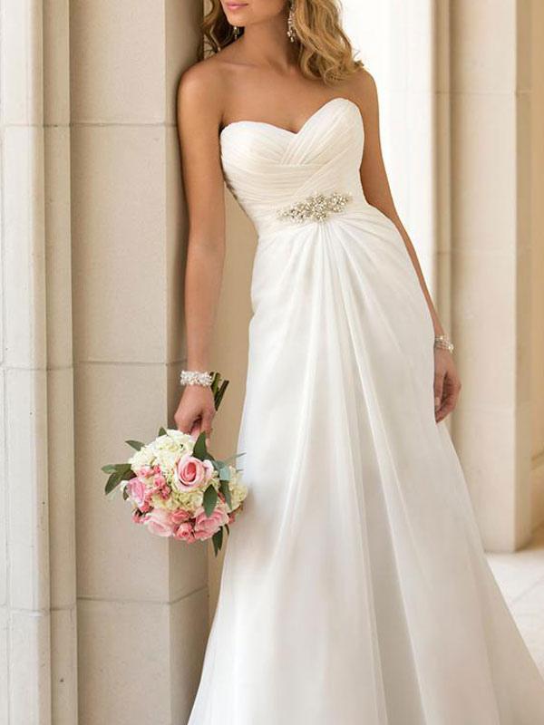 Simple Wedding Dress Sheath Sweetheart Neck Sleeveless Pleated Bridal Dresses With Train