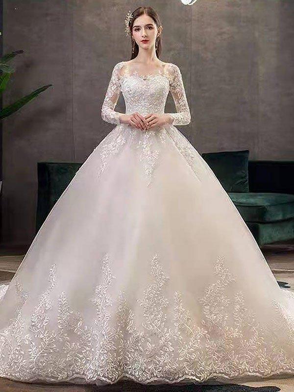 Neue Vintage Brautkleider Eric White Jewel Neck Lange Ärmel Natürliche Taille Satin Stoff Kathedrale Zug Applique Traditionelle Kleider Für Die Braut
