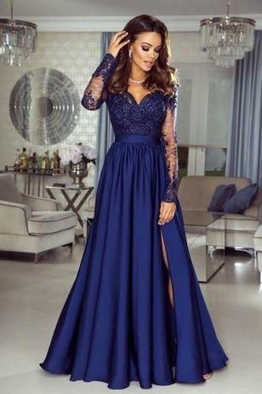Elegant Royal Blue A-line Long Sleeves Formal Dress Lace Appliques Evening Maxi Dress