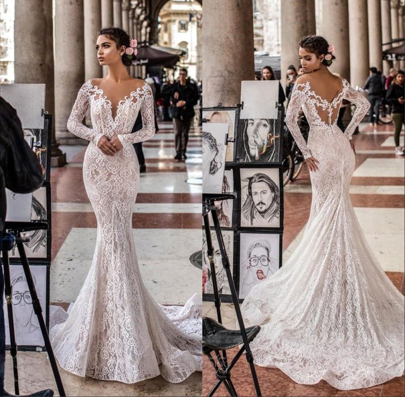 Precioso vestido de novia de sirena de encaje floral blanco / marfil Vestido de novia delgado romántico de manga larga