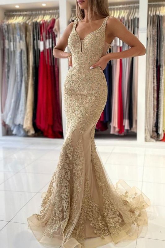 Stunning V-Neck Sleeveless Slim Mermaid Evening Gown Floral Lace