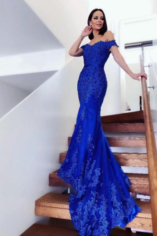 Elegant Off  Shoulder Mermaid Evening Gown Tulle Lace Appliques Long Formal Dress