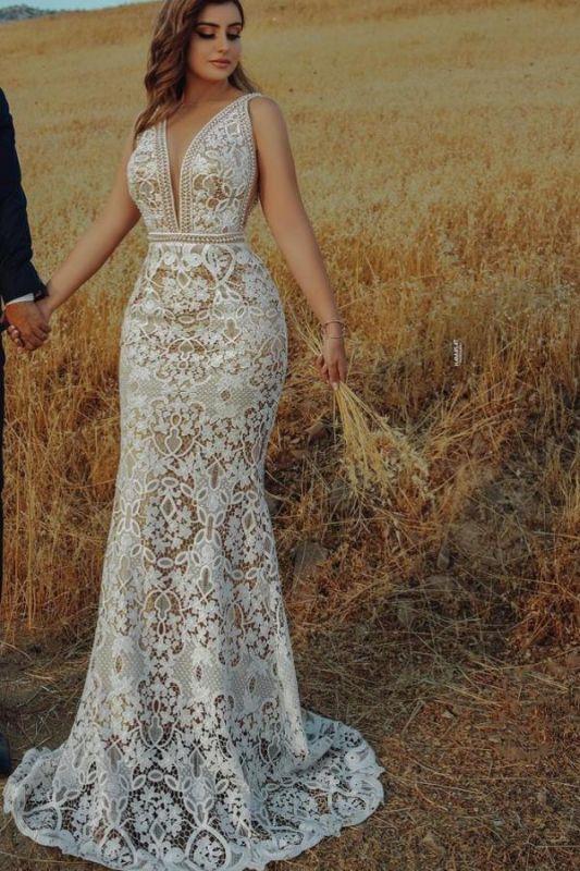 Elegantes tiefes V-Ausschnitt Blumen Meerjungfrau Brautkleid ärmelloses schlankes Brautkleid