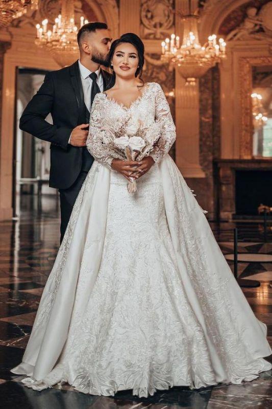 Elegantes weißes Brautkleid mit langen Ärmeln Blumenspitze Meerjungfrau Brautkleid mit abnehmbarem Zug